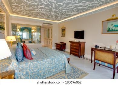 SIDE, TURKEY- JULY 14: Cozy room in residential complex in Side, Turkey, July 14, 2013. Residence has restaurant, bar inside pool, fitness room, Turkish bath, sauna,etc