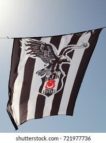 SIDE, TURKEY - JUNE 20, 2016: Turkish football club Besiktas flag with logo in Side, Turkey