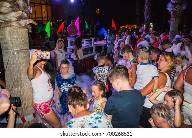 Side, Turkey - June, 25, 2017: People in a public open foam party in Side in 2017