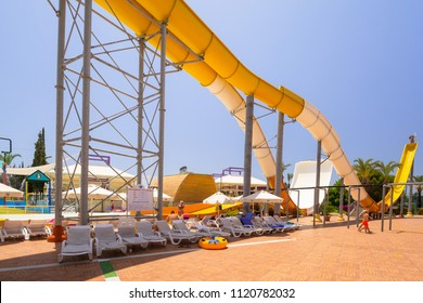 Side, Turkey - June 7, 2018: Waterpark of the TT Pegasos World resort near Side, Turkey. Pegasos World Hotel is a 4-star resort with 9600 square metres of pool areas.