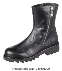 Side upper view of black dotted leather female (girl) insulated demi season boot with metal zipper, isolated on white