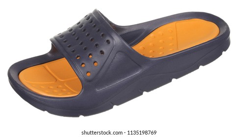 Side upper view of black and orange rubber male beach slipper (sneaker) with perforation, isolated on white