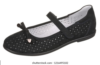 Side upper view of black and white perforated women's suede shoe with velcro and bow, isolated on white