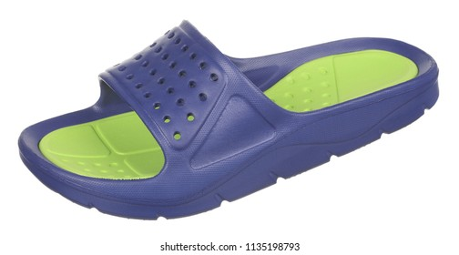 Side upper view of blue and green rubber male beach slipper (sneaker) with perforation, isolated on white