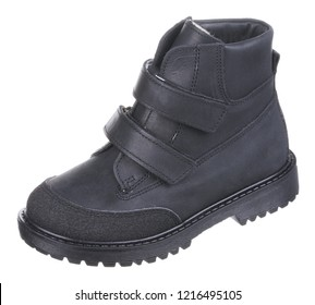 Side upper view of dark blue and black leather water resistant winter insulated male high boot with velcro clasps and artificial fur insulation, isolated on white