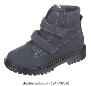 Side upper view of dark blue and black suede water resistant winter insulated male high boot with velcro clasps and artificial fur insulation, isolated on white