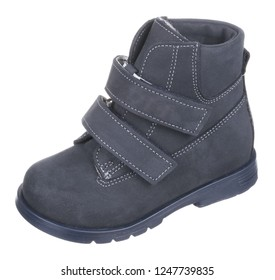 Side upper view of dark blue suede water resistant winter insulated male high boot with velcro clasps and artificial fur insulation, isolated on white