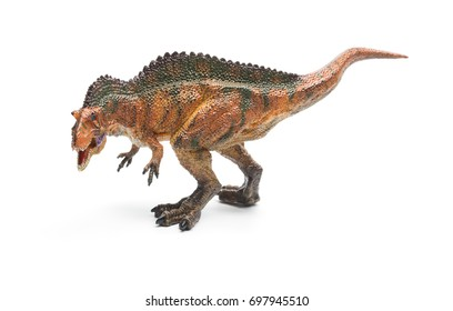 side view acrocanthosaurus toy with shadow on a white background