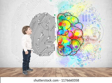 Side view of an adorable little caucasian boy with blond hair wearing white shirt and dark blue jeans and looking upwards. Colorful brain sketch. Creative thining concept