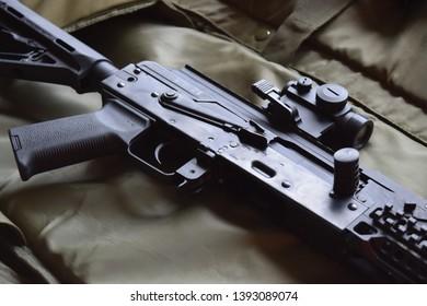 Side view of an AK47/AK74 assault rifle.
