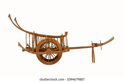 Side view Ancient wooden cart thai style wagon for cows drag, Isolated on white background