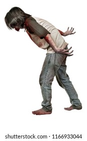 Side view of angry zombie man with wounded hands standing isolated over white background