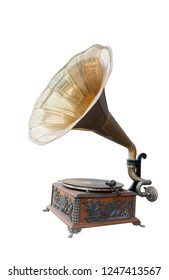 side view antique brass and wooden gramaphone on white background,copy space
