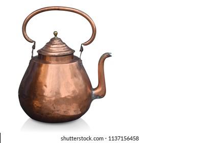 side view antique copper pot on white backgroud,copy space