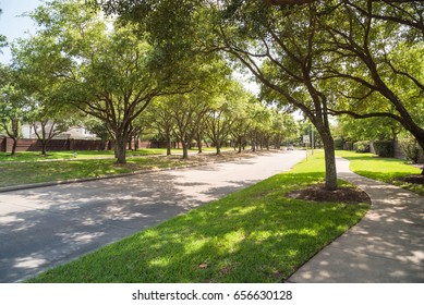 Side view of asphalt road, street in suburban residential area with lot of green trees in Katy, Texas, US. America is an excellent green and clean country. Environmental and transportation background.