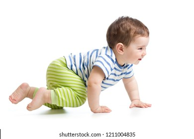 side view of baby boy crawling isolated on white background