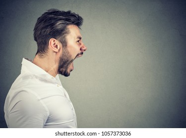 Side view of bearded man in rage shouting loudly with mouth opened on gray background.