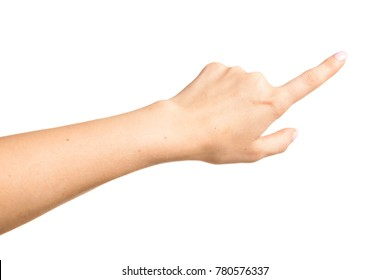 Side view of beautiful relaxed right female hand palm with neutral manicure isolated on white background. Detailed closeup studio shot.