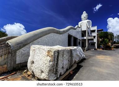 Side View of Big Buddha at sunny morning (Phra Puttamingmongkol Akenakkiri Buddha Statue) in Chalong, Phuket, Thailand