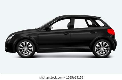 Side view of a black hatchback in 3D