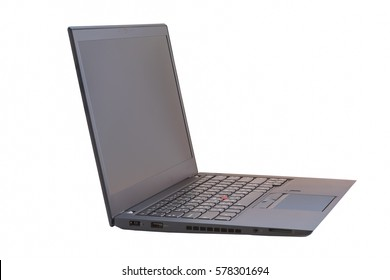 Side view of black laptop with black screen isolated on white background