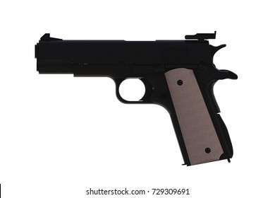 Side view of black M1911 semi-automatic .45 caliber pistol isolated on white background, 3D rendering