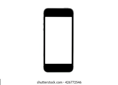 side view of black mobile phone isolated on white background