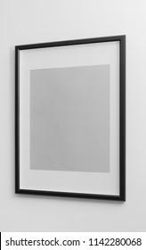 Side view of Black modern frame on white wall - Portrait wooden frame
