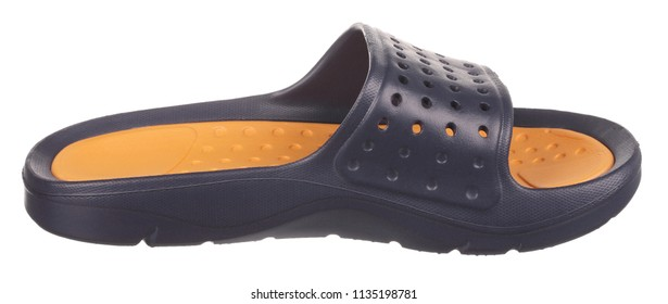 Side view of black and orange rubber male beach slipper (sneaker) with perforation, isolated on white