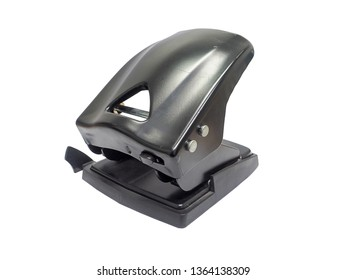 side view of black paper hole puncher of office stationery isolated on white background