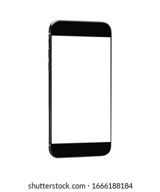 Side view. Black smartphone with blank touch screen. Isolated with clipping path on white background