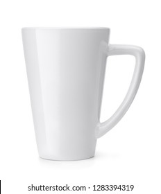 Side view of blank coffee mug isolated on white