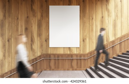Side view of blank poster on wooden wall and businesspeople climbing stairs. Mock up, 3D Rendering