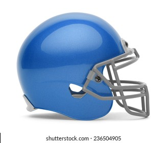 Side View of Blue Foot Ball Helmet with Copy Space Isolated on White Background.