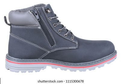 Side view of blue, gray and pink suede man high boot (tracking boot) with shoelaces, zipper and felt, isolated on white