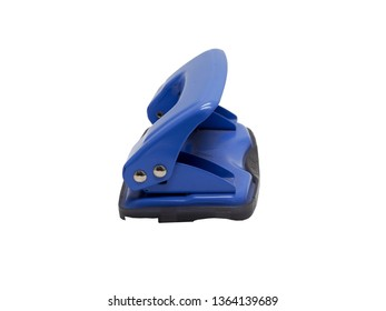 side view of blue paper hole puncher of office stationery isolated on white background