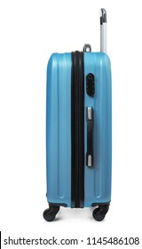 Side view of blue plastic suitcase isolated on white