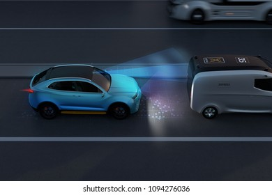 Side view of blue SUV emergency braking to avoid car crash. Automatic Emergency Braking (Emergency brake system) concept. Night scene. 3D rendering image.