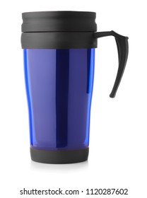 Side view of blue thermo mug isolated on a white