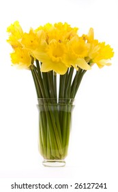 side view of bouquet of daffodils