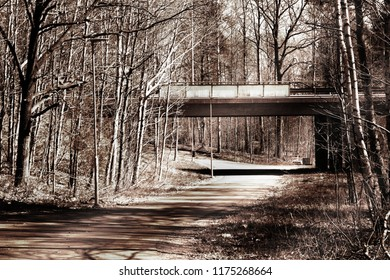 A side view of a bridge over a bicycle path