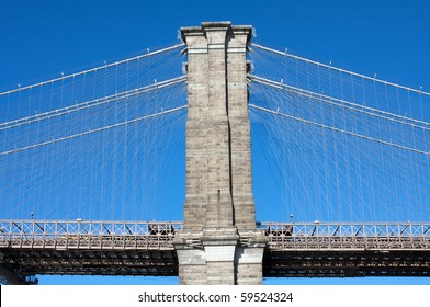 Side view of Brooklyn Bridge and its cables