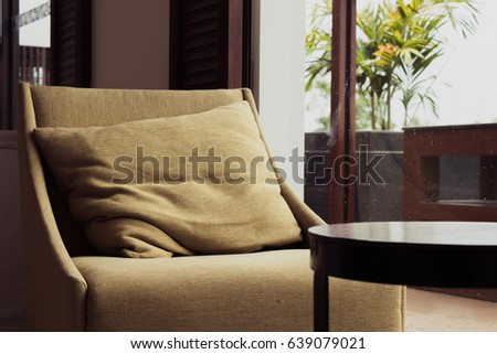 Side View Brown Sofa Near Window Stock Photo Edit Now 639079021