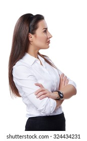Side view of a buccessful business woman looking forward at blank copy space, over white background