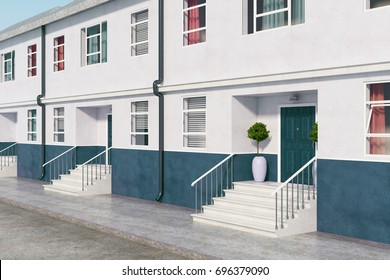 Side view of building with nice entrances and stairs. Real estate, architecture, exterior concept. 3D Rendering