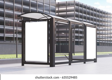 Side view of a bus stop with two blank vertical posters standing in a street near an office building. 3d rendering, mock up