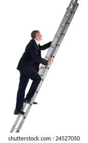 Side view of a businessman climbing a ladder, isolated on a white background.