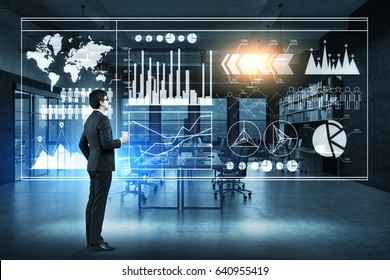 Side view of businessman with coffee looking at graphs on a glassboard. Elements of this image furnished by NASA. 3d rendering, toned image