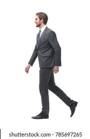 side view. businessman goes forward.