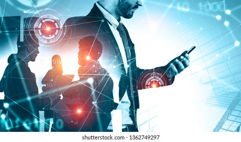 Side view of businessman with smartphone and his team members working together over skyscraper background. Immersive network interface with HUD. Toned image double exposure